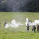 Staged battle in field