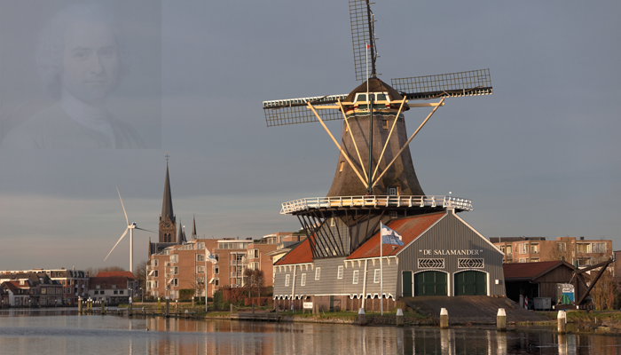 Modern and classic windmills and Jean Jacques Rousseau