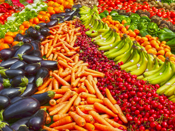 Abundant display of fruit and vegetables